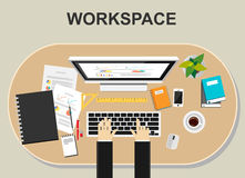 Workspace illustration.. Flat design illustration concepts for working, monitoring, business, career, planning, development, or management Royalty Free Stock Photos