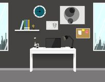 Workspace interior home modern design. Vector room flat Royalty Free Stock Image