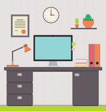 Workspace, interior, home office. Vector illustration of a freelancer's home office.  Workspace interior for website disign Stock Photo