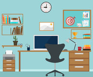 Workspace interior with office objects Stock Photography