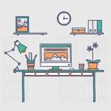 workspace Interior ou casa tirada mão do escritório ilustração do vetor