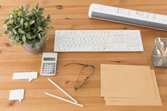 Workspace for inventive person. Photo of simple and tidy workspace for inventive person Stock Image