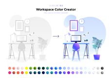 Workspace koloru twórca tła wewnętrzny izbowy kanapy rocznika biel ilustracja wektor