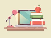 Workspace laptop and book stack flat style Stock Photo