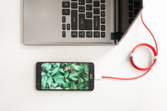 Workspace with laptop and charging smartphone on white desk. Smartphone with green plants screen is connecting to laptop computer.  Royalty Free Stock Photos