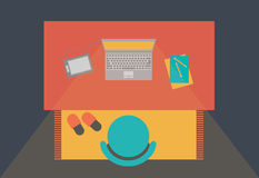 Workspace with laptop flat style Royalty Free Stock Images