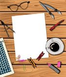 Workspace with laptop, notebook royalty free illustration