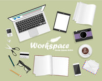 Workspace with laptop, phone, notebook Royalty Free Stock Photography