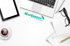 Workspace with laptop, phone, notebook Royalty Free Stock Photos