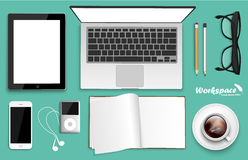 Workspace with laptop, phone, notebook Stock Images