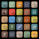 Workspace line flat icons with long shadow Royalty Free Stock Images