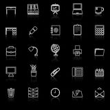 Workspace line icons with reflect on black background Stock Images