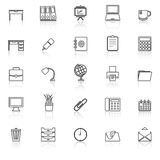 Workspace line icons with reflect on white background Royalty Free Stock Photography