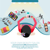 Workspace for makeup. Workspace for makeup with female in the chair. Flat design Stock Photography