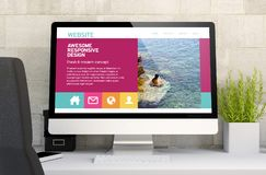 workspace med svars- design för awesomw royaltyfria bilder