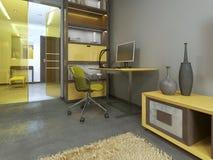 Workspace med tabellen i modern vardagsrum Royaltyfri Bild