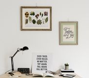 Workspace minimal style photo frames Royalty Free Stock Photo