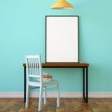 Workspace mock up poster. 3d illustration interior. Workspace mock up poster Stock Images