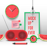 Workspace mock up, red objects Stock Image