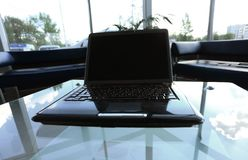 Workspace modern home office desk with laptop and equipment royalty free stock images