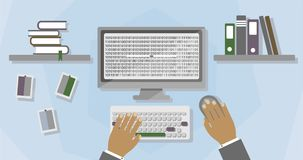 Workspace office worker or programmer. Flat graphics. stock footage