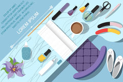 Workspace for nail care. Flat design Stock Images