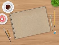 Workspace with notebook and coffee Royalty Free Stock Photo