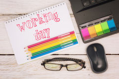 Workspace notebook and scratchpad Royalty Free Stock Photo