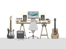 Free Workspace Of An Audio Engineer Or A Music Producer Royalty Free Stock Image - 113528996