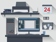 Workspace Office Computer Creative Flat Design Stock Photos