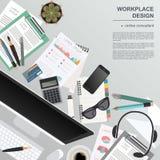 Workspace of the online consultant. Mock up for creating your ow. N modern creative office desktop workshop style. Flat design vector mock up. Vector vector illustration