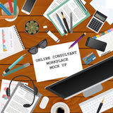 Workspace of the online consultant. Mock up for creating your ow Stock Photography