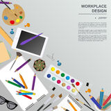 Workspace of the painter, artist. Mock up for creating your own Stock Photo