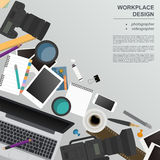 Workspace of the photographer, videographer. Mock up for creatin. G your own modern creative office desktop workshop style. Flat design vector mock up. Vector Royalty Free Stock Photos
