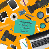 Workspace of the photographer, videographer. Mock up for creatin Royalty Free Stock Image
