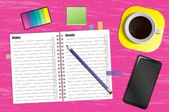 Workspace with a planner and a cup of coffee vector illustration