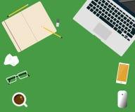 Workspace pojęcia kreatywnie laptopu projekta wektorowa płaska ilustracja royalty ilustracja