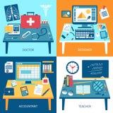 Workspace pokoje Ustawiający ilustracja wektor