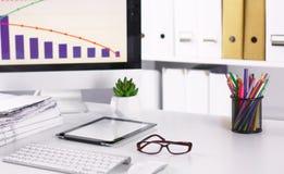 Workspace prezentaci mockup, komputer stacjonarny i biuro supp, obraz royalty free