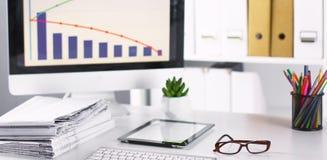 Workspace prezentaci mockup, komputer stacjonarny i biuro supp, fotografia stock