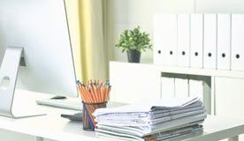 Workspace prezentaci mockup, komputer stacjonarny i biuro supp, fotografia royalty free