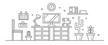 Workplace Line Art Black And White. Simple Thin Line Design Vector. Workspace or Private Room Concept and Interiors royalty free illustration
