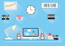 Workspace retro flat style Royalty Free Stock Image