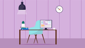 Workspace room with desk and computer Royalty Free Stock Photo