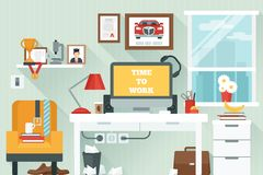 Workspace In Room Royalty Free Stock Image