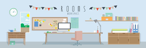 Workspace (Rooms). Vector illustration of a workspace royalty free illustration
