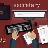 Workspace Secretary Design Flat Stock Image