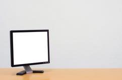 Workspace tło, Pusty biały ekran komputerowy, monitoru ekran Fotografia Stock