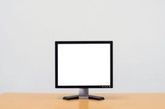 Workspace tło, Pusty biały ekran komputerowy, monitoru ekran Obraz Stock