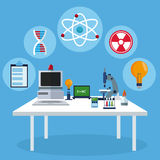 Workspace table laboratory equipment biology. Vector illustration eps 10 Royalty Free Stock Images